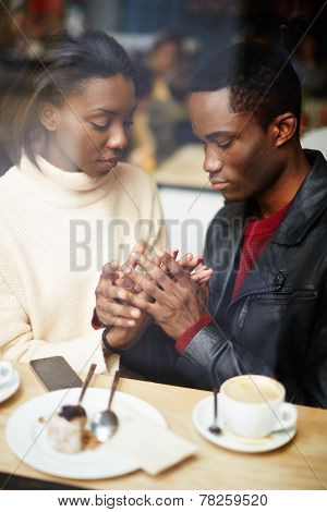 Two people in cafe enjoying the time spending with each other portrait of young couple in love