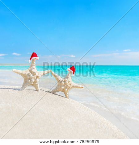Sea-stars Couple In Santa Hats At Sea Beach. New Years Or Christmas Concept