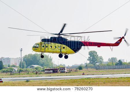 Passenger helicopter MI-8 landing