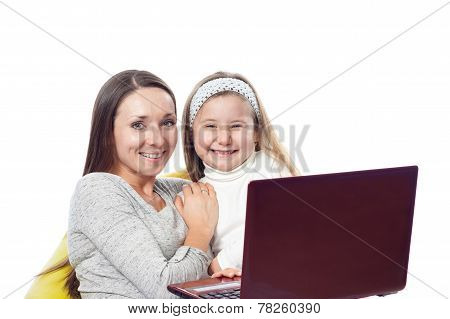 The Girl With The Woman In Front Of The Computer