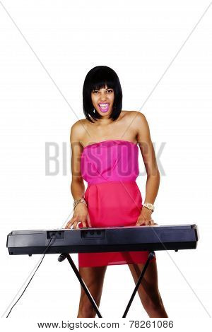 Skinny Light Skinned Black Woman At Piano