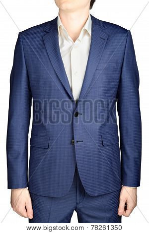 Sapphire Suit For Men, With Texture In Small Cells, Isolated.