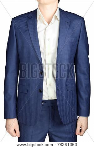 Blue Mens Suit,  In Fine Checkered, Isolated On White Background.