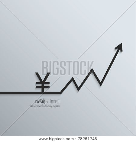 Ribbon yen sign and exchange the curve arrow