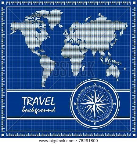 Blue travel background with dotted world map and compass rose.