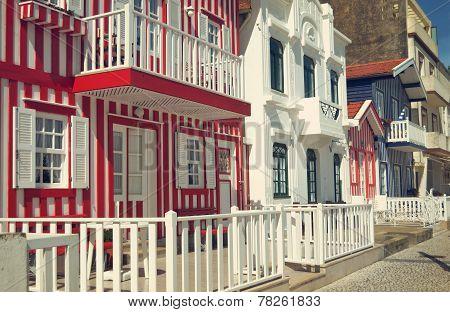 Typical colorful houses of Costa Nova, Aveiro, Portugal.