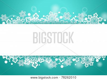 Winter Beautiful Background with Snow Flakes and White Space for Words