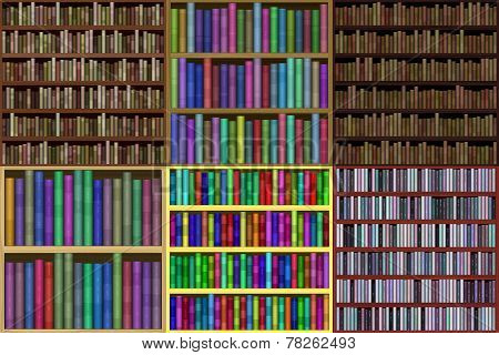 Set Of Bookshelf Generated Textures