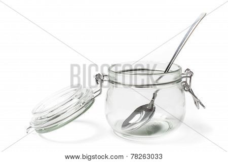 Empty Jar And Spoon With Clipping Path