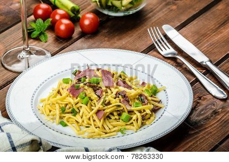 Homemade Pasta With Roasted Black Forest Ham