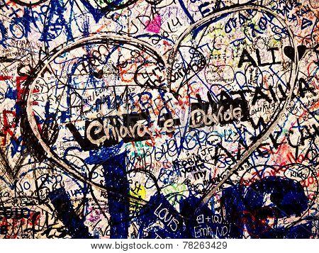 Heart and love sentences, Verona, Italy