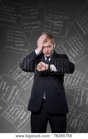 Overworked Businessman Being Late