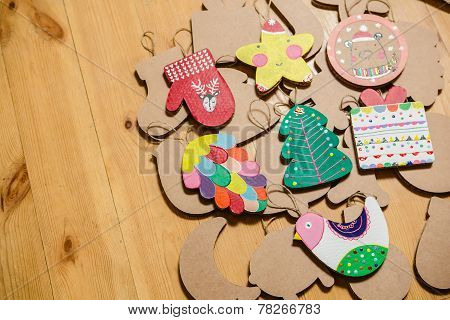 Cardboard toys for the Christmas tree or garland. New year decorations.