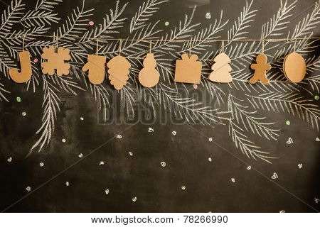 Cardboard toys for the Christmas tree or garland. Creative decorations. Selective Focus