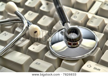 Stethoscope On Computer Keyboard