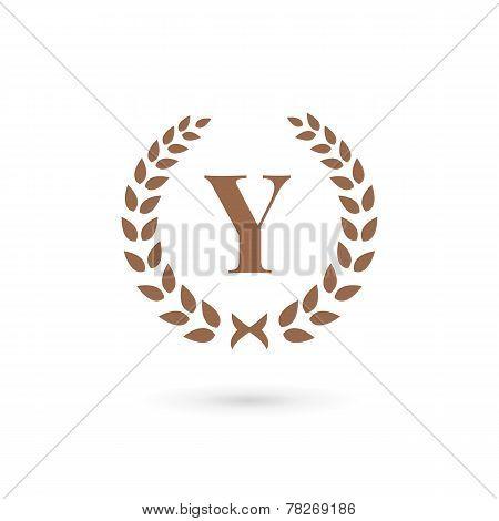 Letter Y Laurel Wreath Logo Icon Design Template Elements