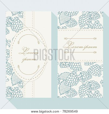 Business Card Set With Outline Blackberries