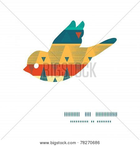 Vector vibrant ikat stripes bird silhouette pattern frame