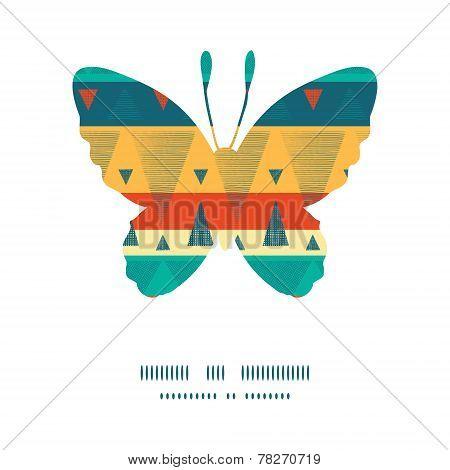 Vector vibrant ikat stripes butterfly silhouette pattern frame