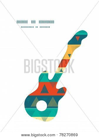Vector vibrant ikat stripes guitar music silhouette pattern frame