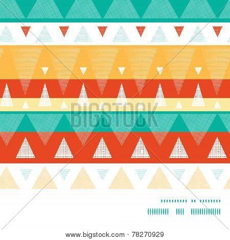Vector vibrant ikat stripes horizontal frame seamless pattern background