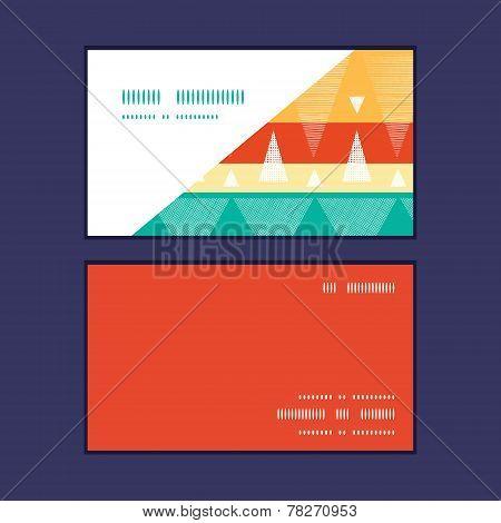 Vector vibrant ikat stripes horizontal corner frame pattern business cards set
