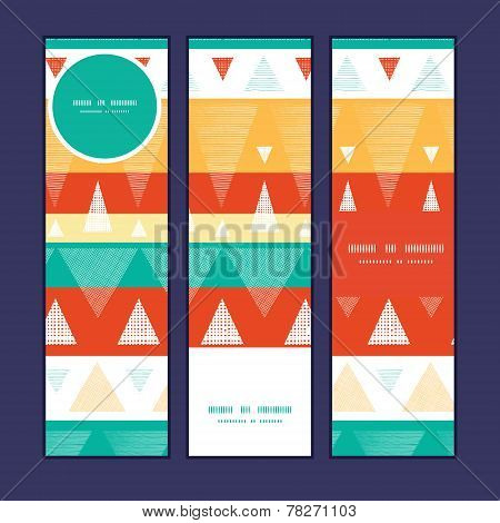 Vector vibrant ikat stripes vertical banners set pattern background