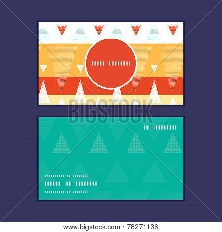 Vector vibrant ikat stripes vertical round frame pattern business cards set