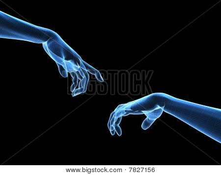 3d hands - wireframe