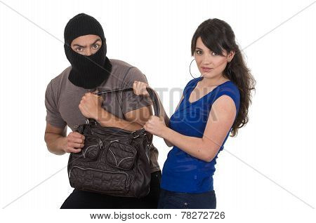 male thief robbing beautiful young girl