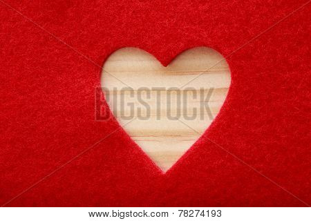 Big Heart Cut Out Of Red Felt