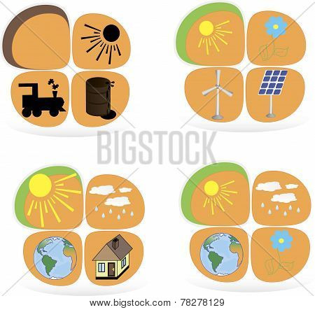 Set of flat design concepts - green energy. Solar panels, windmill, battery, light bulb