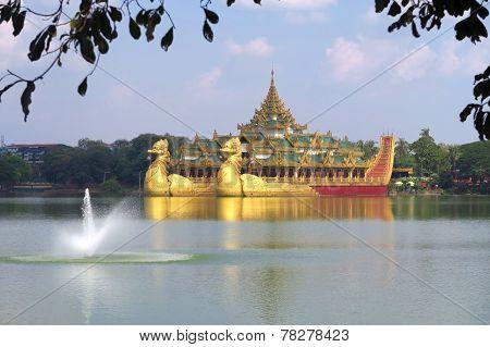 Floating royal barge in Yangon, Myanmar