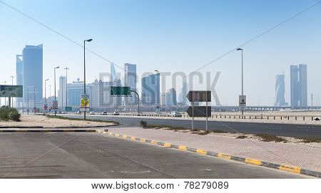 Shaikh Hamad Causeway. Manama City, Capital Of Bahrain