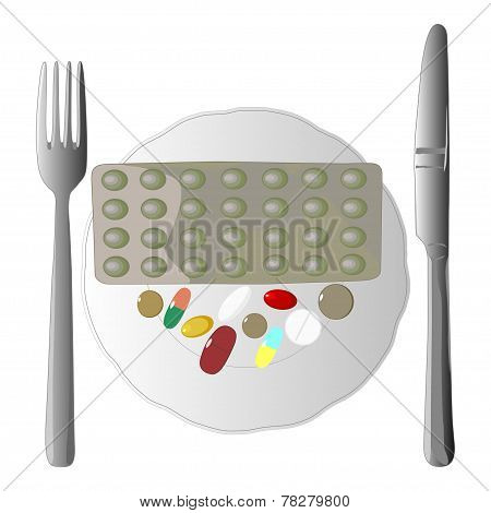 Illustration of fork, knife and pills on the plate