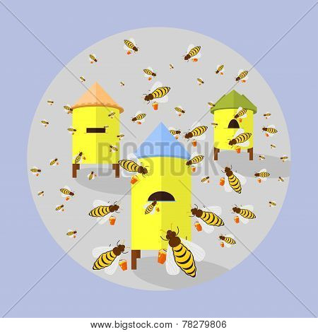 Illustration Of Bees And Hives
