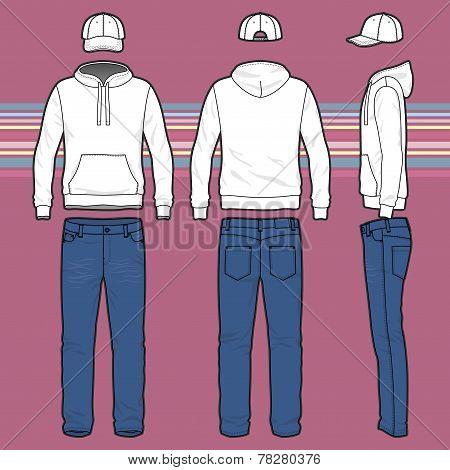 Hoodie, Cap And Jeans Set