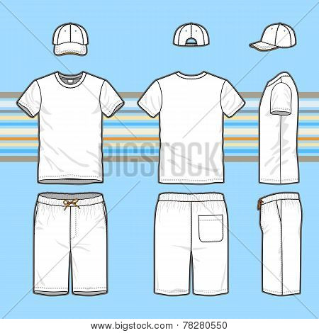 Men's T-shirt, Cap And Swim Shorts Set.