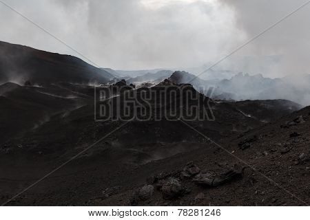 Mountain Landscape Of Kamchatka: A Volcanic Eruption Area