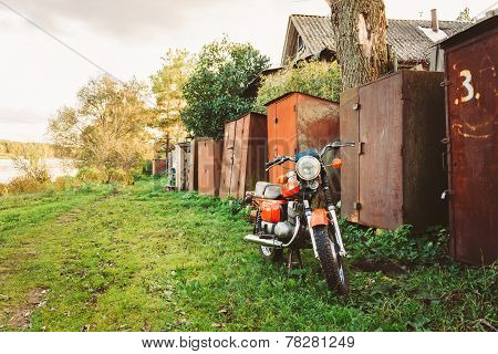 Vintage Red Motorcycle Generic Motorbike In Countryside