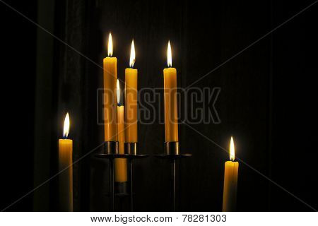 Candles Burning In A  Room