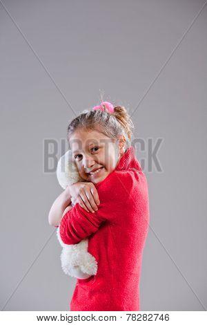 Little Girl With Her Teddy Bear