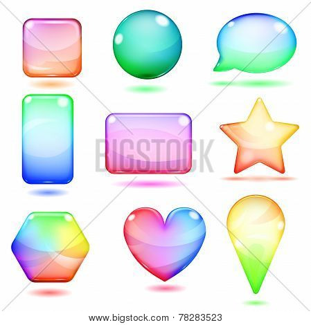 Opaque Multicolored Glass Shapes