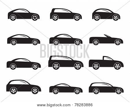 Silhouette different types of cars icons