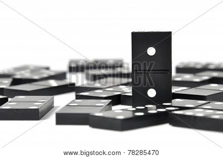 Close up black dominoes