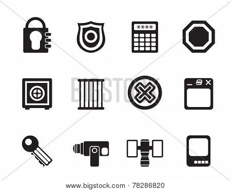 Silhouette Security and Business icons