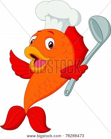 Cartoon chef fish holding soup ladle