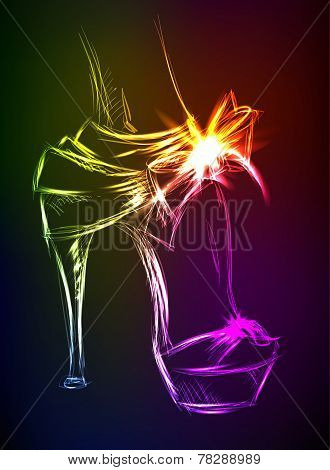 Neon Illustration. Beautiful Female High-heeled Shoes