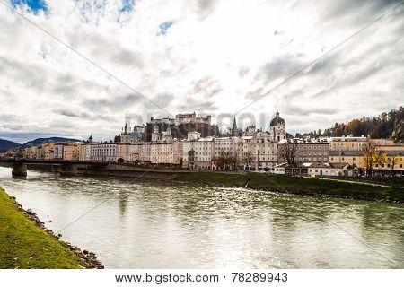 Salzburg With Salzach River
