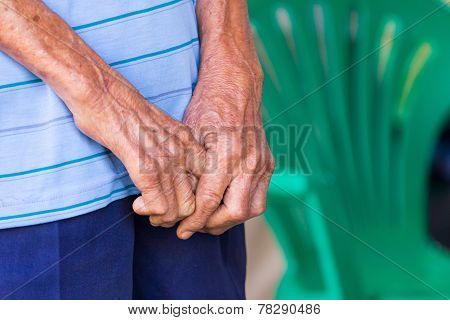 Closeup Of An Old Man's Hands Joined , Focus On Hands
